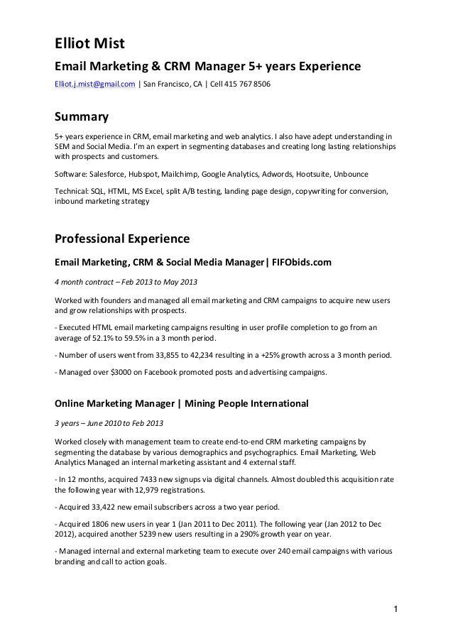CV - Email Marketing \ CRM Projets à essayer Pinterest Email - email for resume