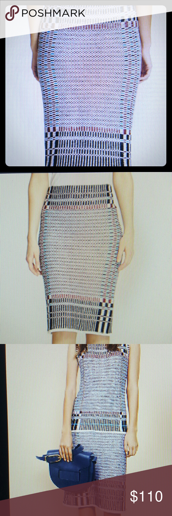 TORY BURCH..JACQUARD PENCIL SKIRT TORY BURCH..JACQUARD PENCIL SKIRT..26in length..pulling style..100%cotton..dry clean..multi colored. blues and white and red Tory Burch Skirts Pencil