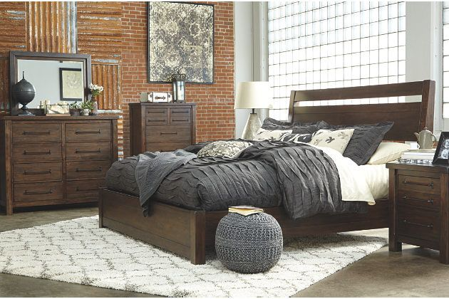 Starmore Queen Panel Bed - dark brown natural wood bed frame and