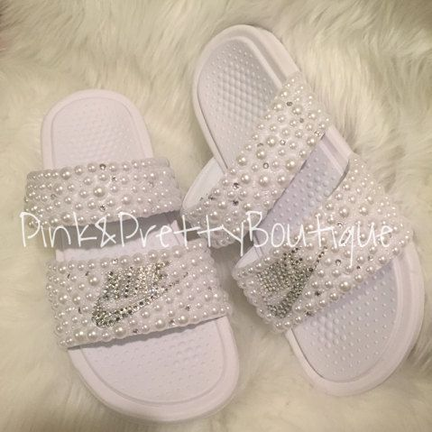 3a92f68eabd2 Custom Pearl   Bling Nike Slides by PinkandPrettyBoutiq on Etsy
