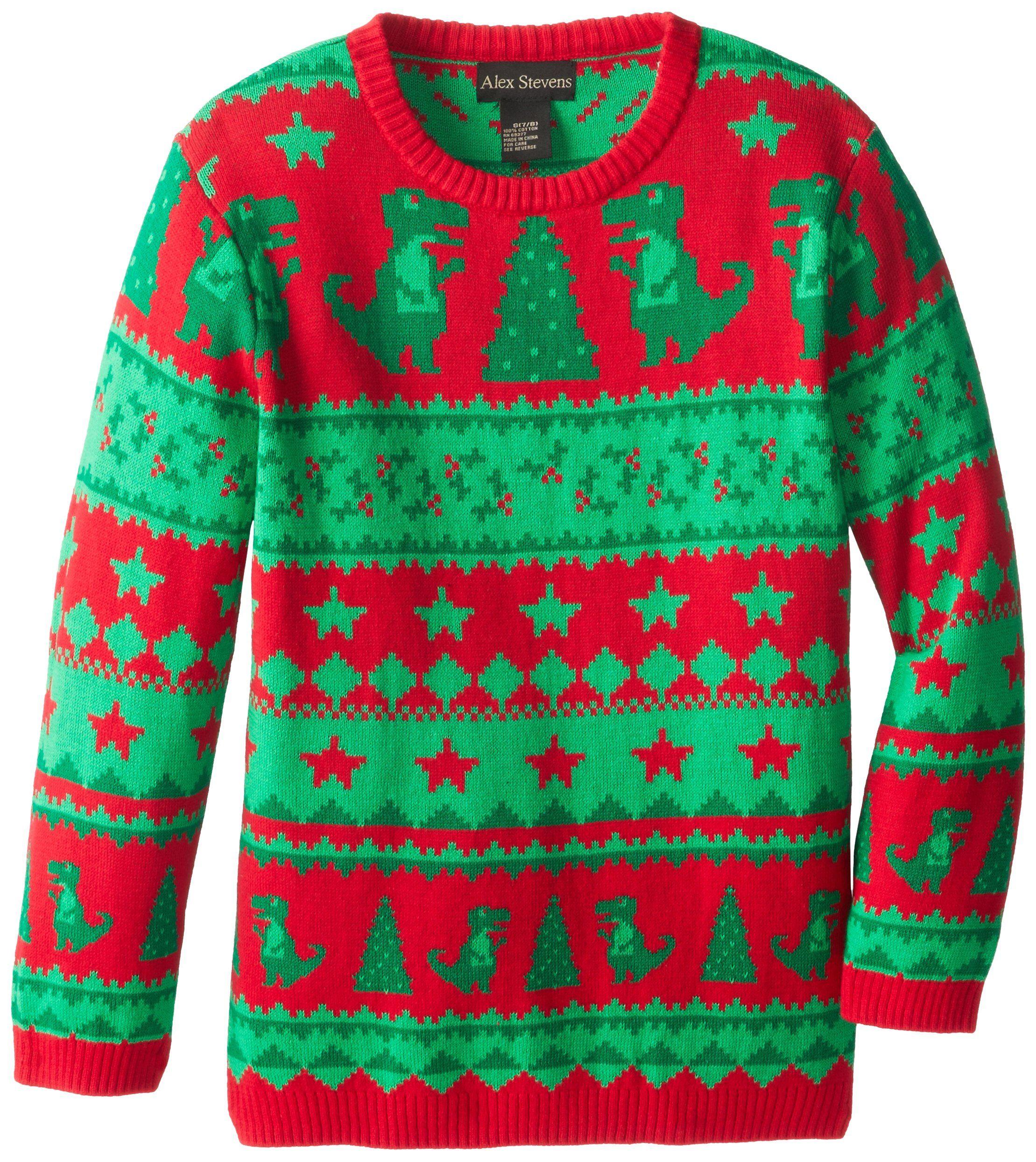 Alex Stevens Big Boys Ugly Christmas Sweater Dinosaur Fairisle Red