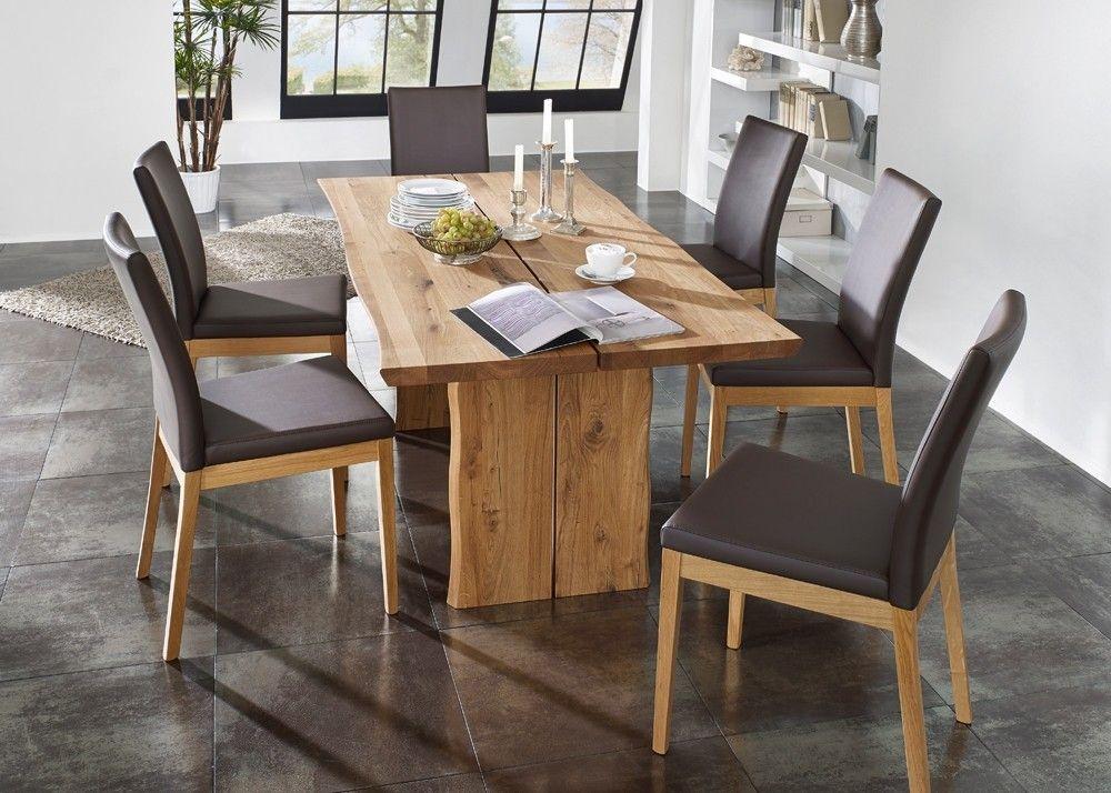 Tischgruppe Oviedo Esstisch mit 6 Stühlen Holz Wildeiche Massiv