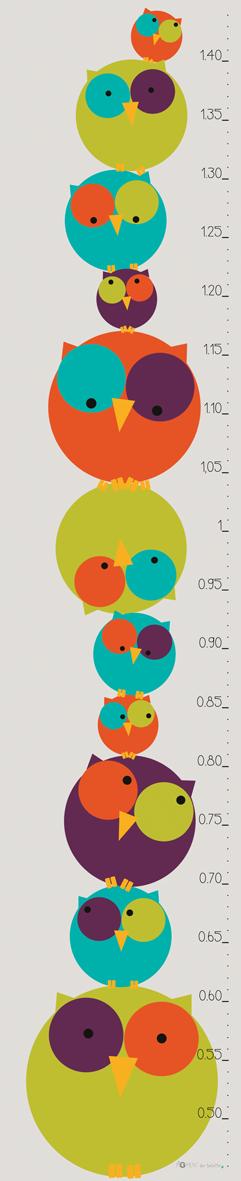 Chouette Toise © Pigment des Belettes Modèle Garçon (Forex 3mm, 20x100cm)   Toise enfant, Toise ...