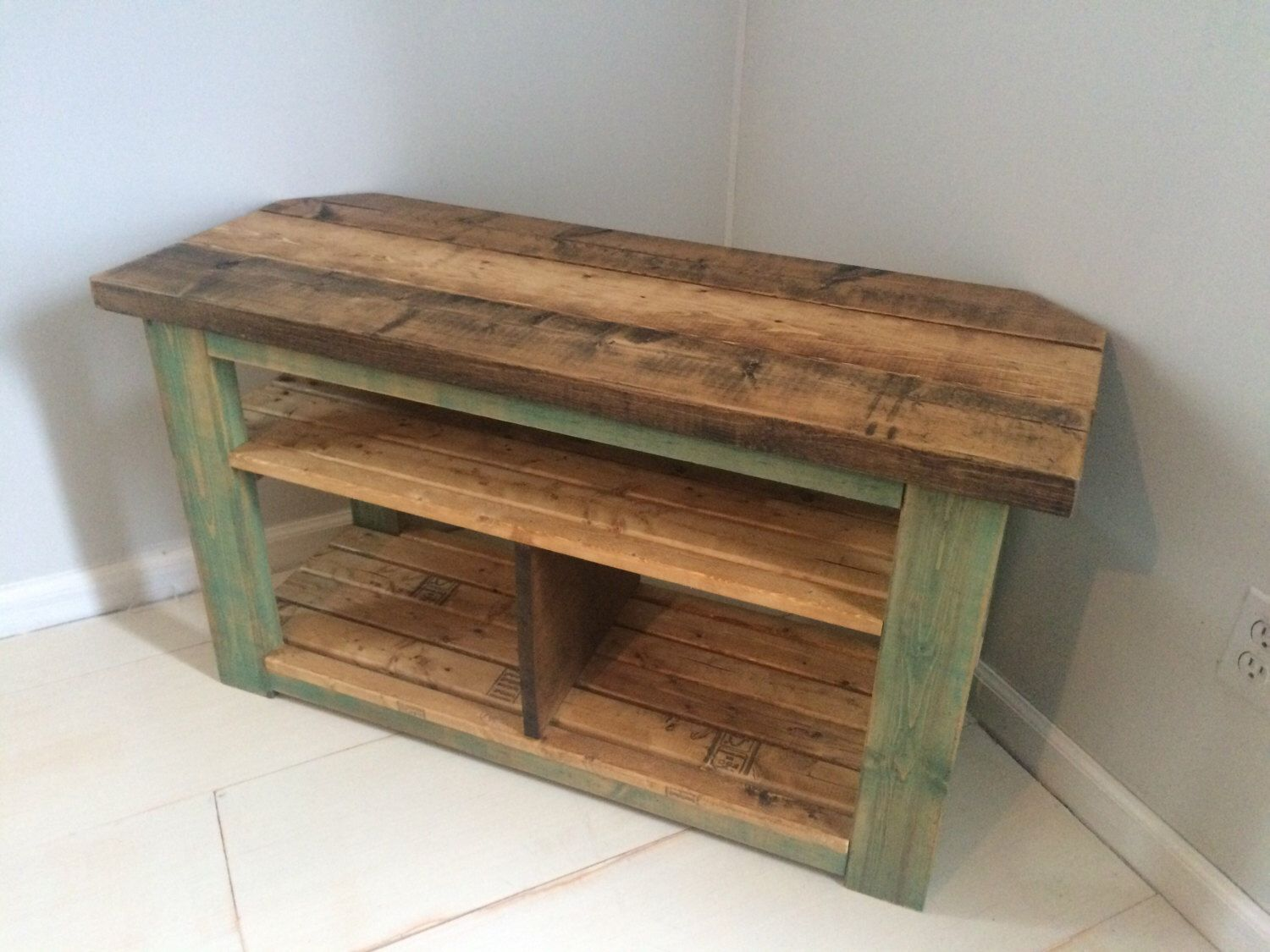Rustic Corner TV Wood Stand/Console Teal Distressed