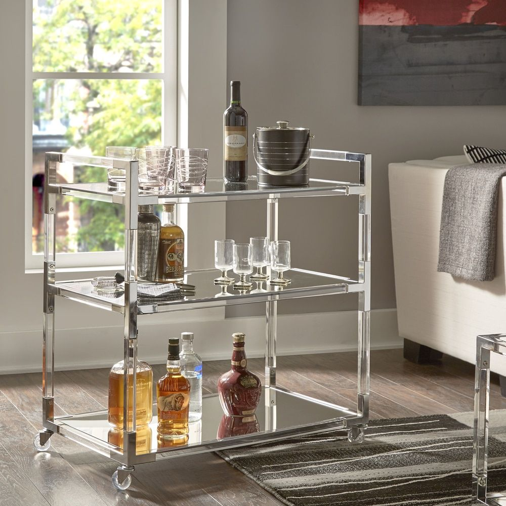 Cyrus Clear Chrome Corner Mirrored Shelf Kitchen Cart by INSPIRE Q - Free  Shipping Today -