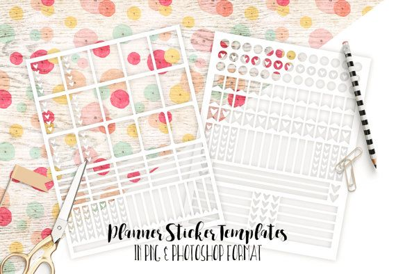 PLANNER STICKER TEMPLATES Commercial Use Blank Erin Condren Life Planner Templates