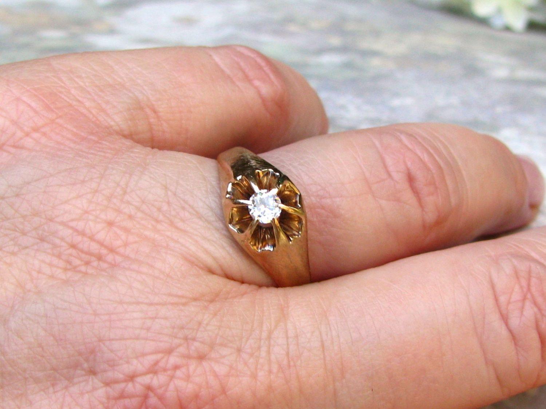 Antique Engagement Ring 0.25ct European Cut Diamond Antique Belcher ...