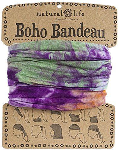Natural Life Bandeau Tie Dye Band Orange Purple Green Na