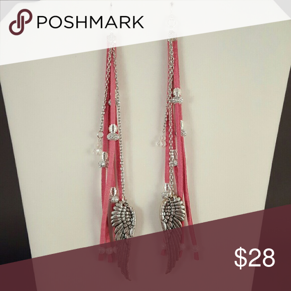 Bohemian Wing Earrings (19a) Pink Suede Laces, adorned with with a pair of silver wings, silver beads (vary per pair), crystal beads, silver chain and nickle free fish hook ear bobs.  Handmade by @alabamagal ©Tiffany Kennedy 2017 The Jewelry Circus Jewelry Earrings