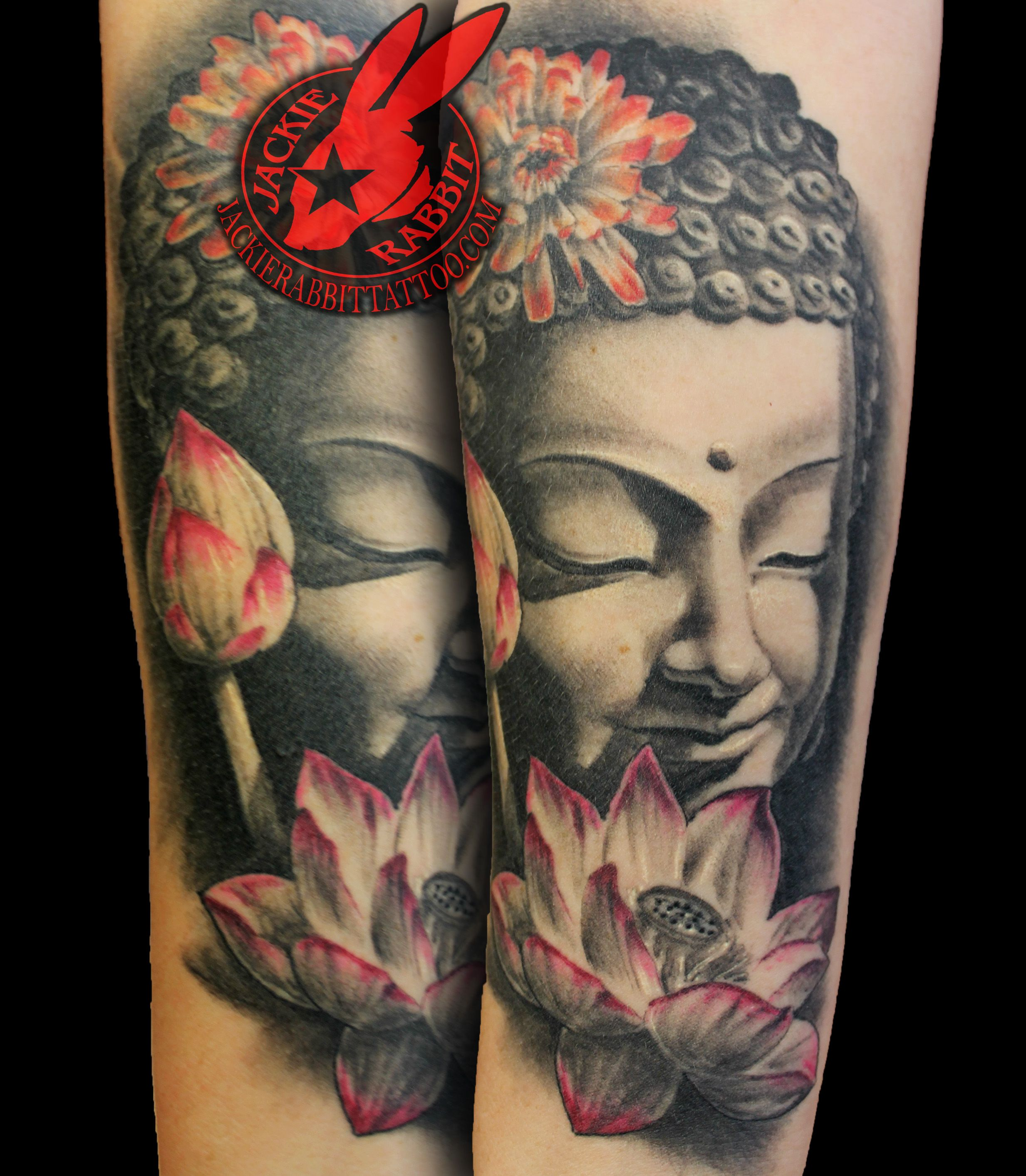Healed Buddha Statue Lotus Flower Realistic 3d Tattoo By Jackie Rabbit Buddha Tattoos Realistic Lotus Tattoo Buddhist Tattoo