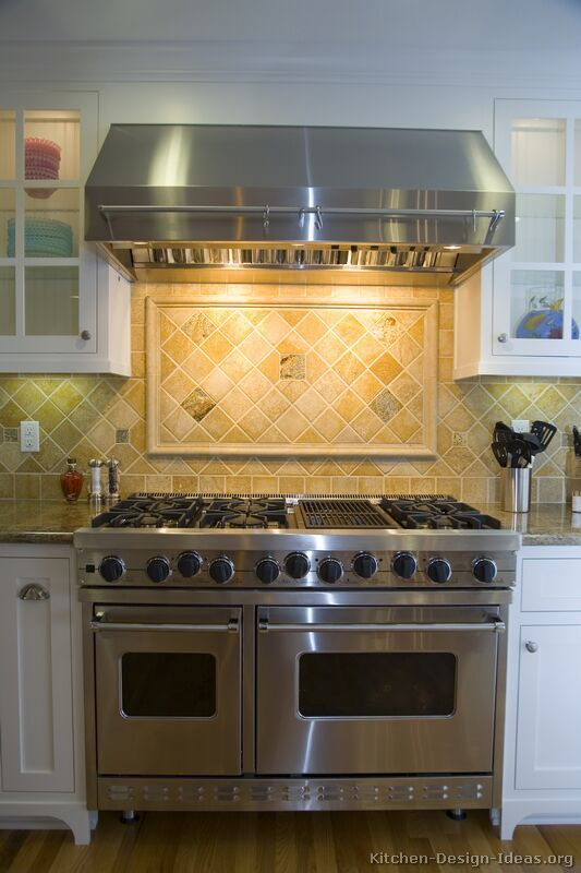 white cabinets backsplash ideas | Pictures of Kitchens - Traditional ...