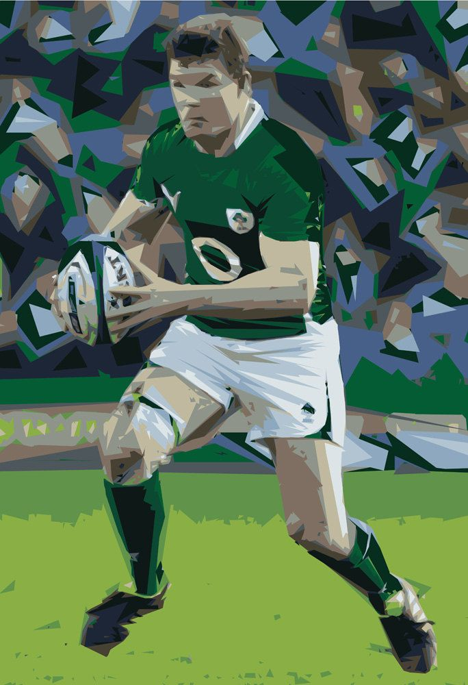 Irish Rugby Poster Irish Rugby Hero A2 Giclee Print Limited Edition Irish Art Print Rugby Poster Irish Rugby Irish Art