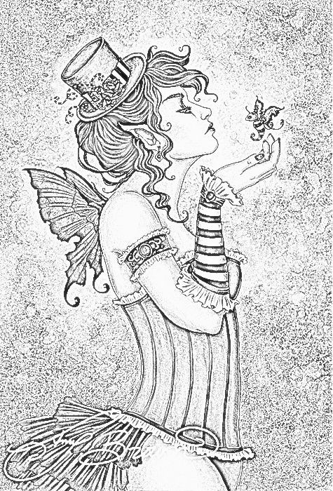 Goth Steampunk Fairy Coloring Page Fairy Coloring Pages Steampunk Coloring Fairy Coloring