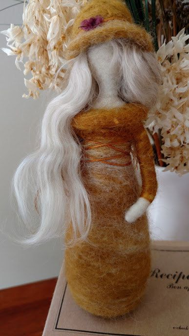 Young women value doll Waldorf inspired needle felt Virtue