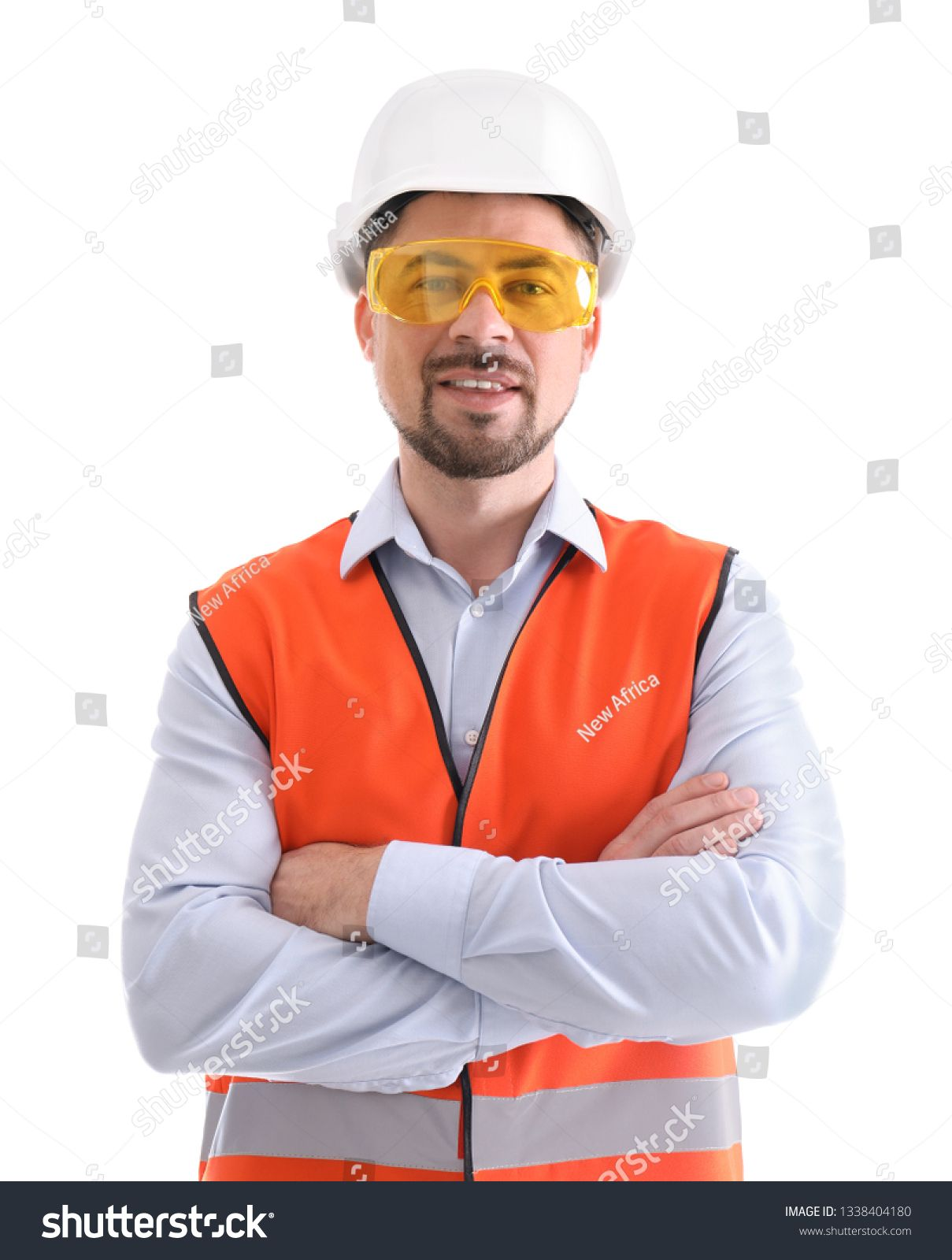Male industrial engineer in uniform on white background