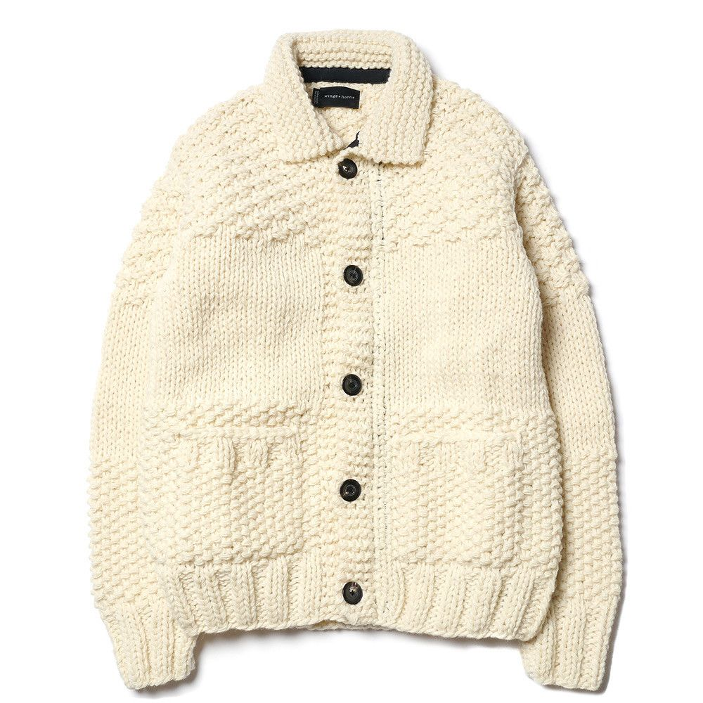 Wings + Horns Blocked Cowichan Sweater Natural, via Haven