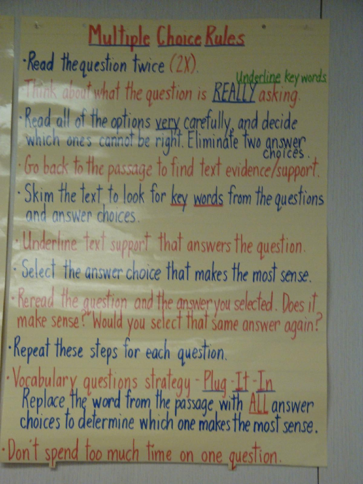 Test Taking Strategies Anchor Chart