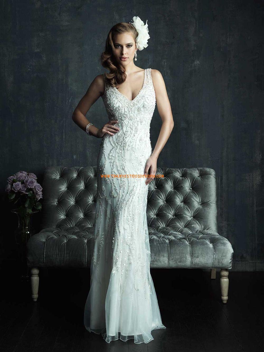 Vestidos de novia estilos sirena escote v elegante | Vestidos de ...