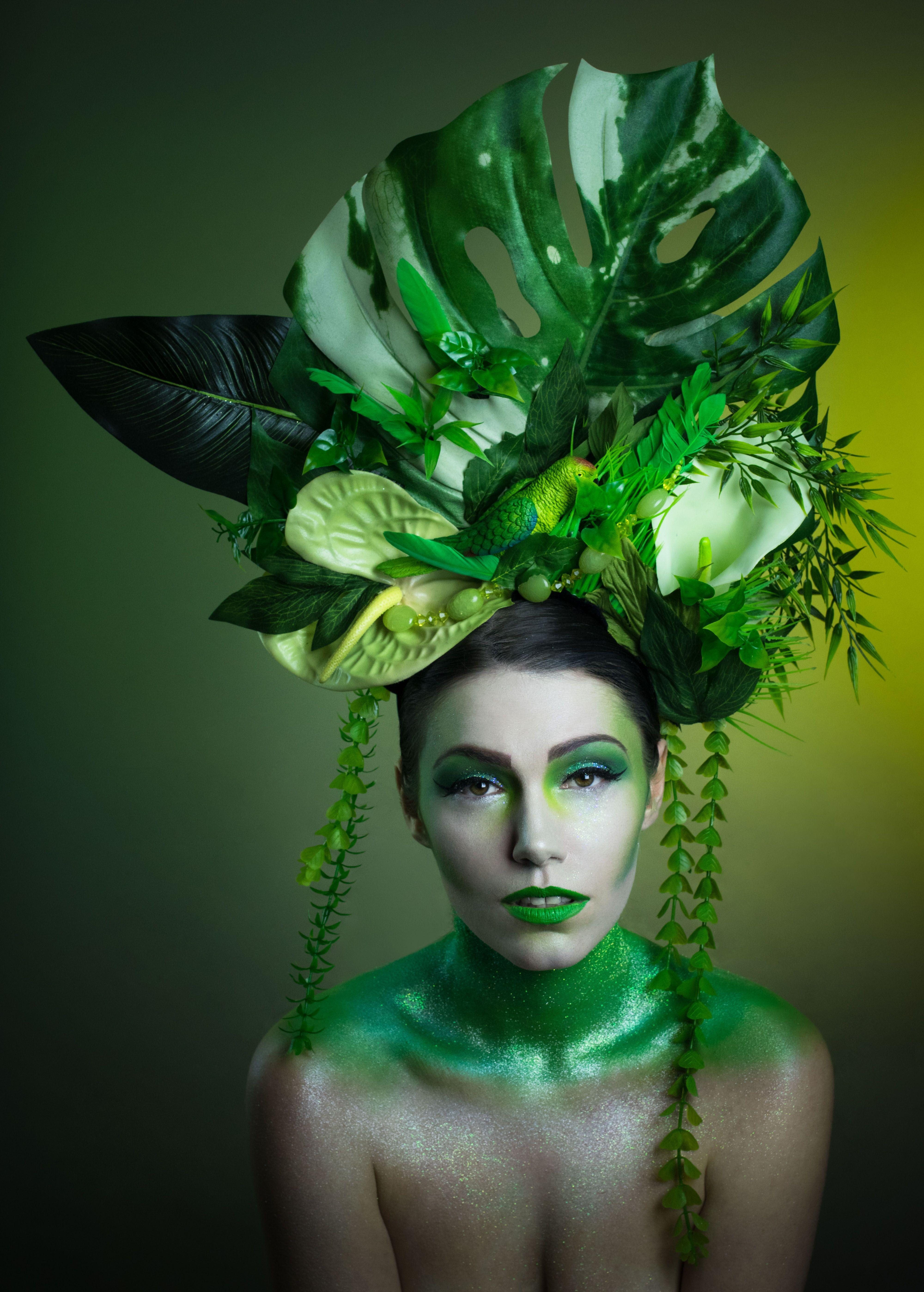 Tropical Rainforest Green Makeup And Headdress Joanna