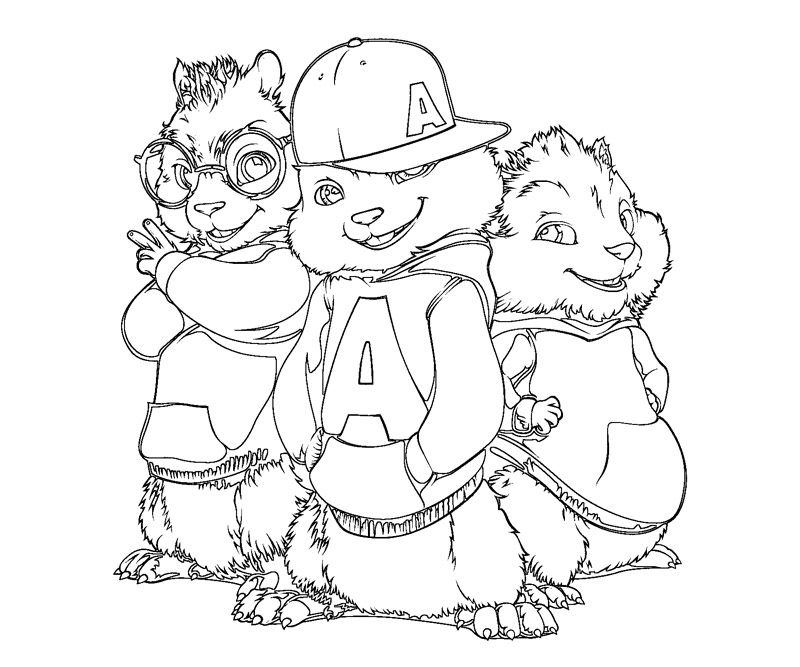 Alvin and the chipmunks coloring pages for kids coloring for Chipmunks coloring pages