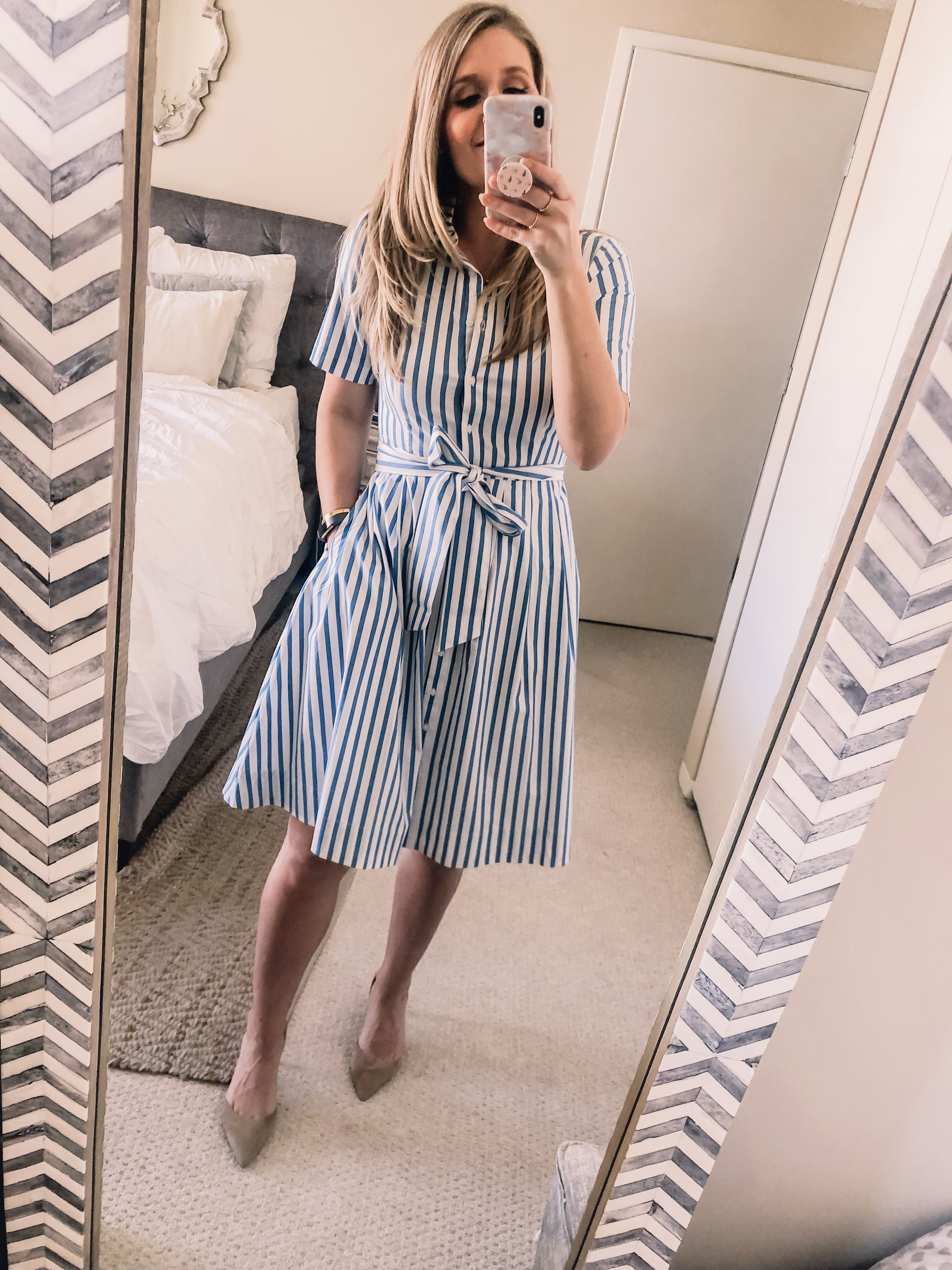 Ootd 3 22 19 Blue Striped Dress Visions Of Vogue Office Outfits Blue Striped Dress Shirt Dress [ 4032 x 3024 Pixel ]
