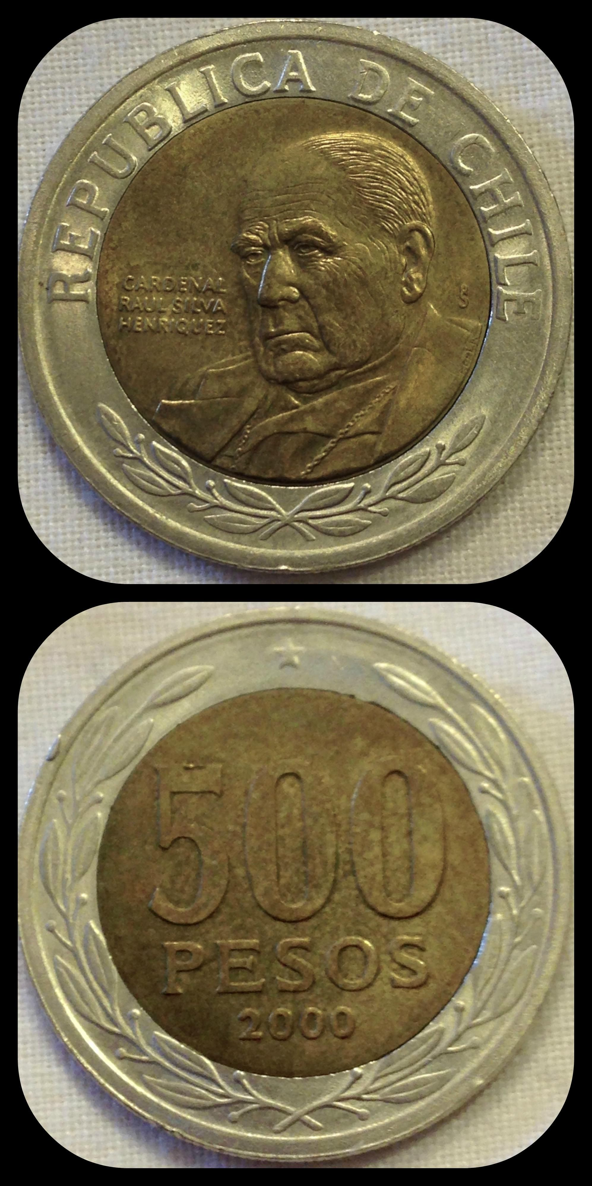 Chile 500 Pesos 2000 Condition Xf These Coins Feature The Bi Of Santiago Cardenal Raul Silva Henriquez If You Have One From And It