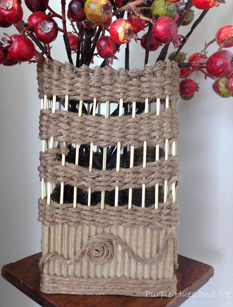 Corrugated Cardboard And Jute Twine Vase Craft Ideas Pinterest