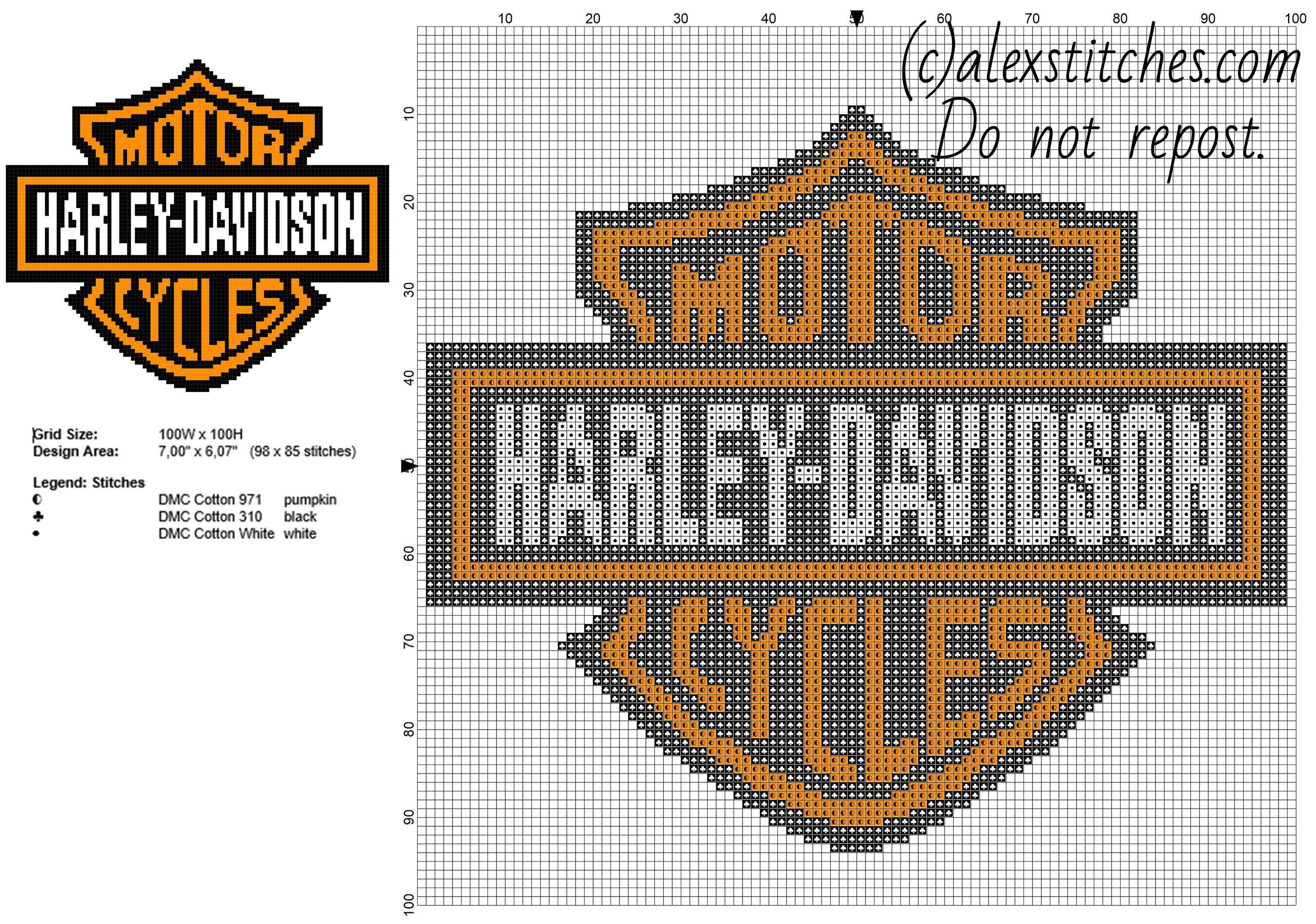 Harley Davidson Motorcycles Logo Free Cross Stitch Pattern