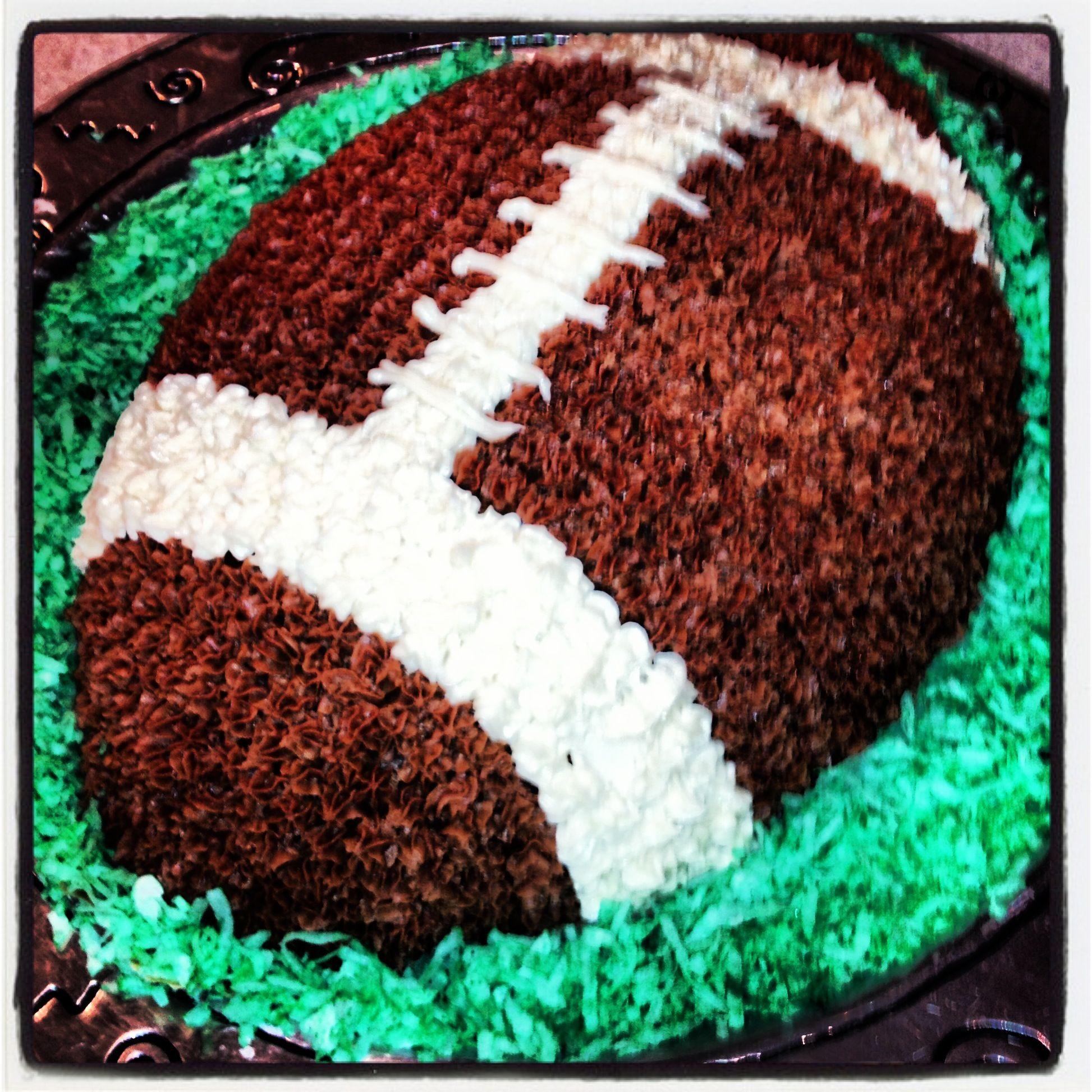 Football cake Use tip 3 16 Wilton cake pan homemade buttercream