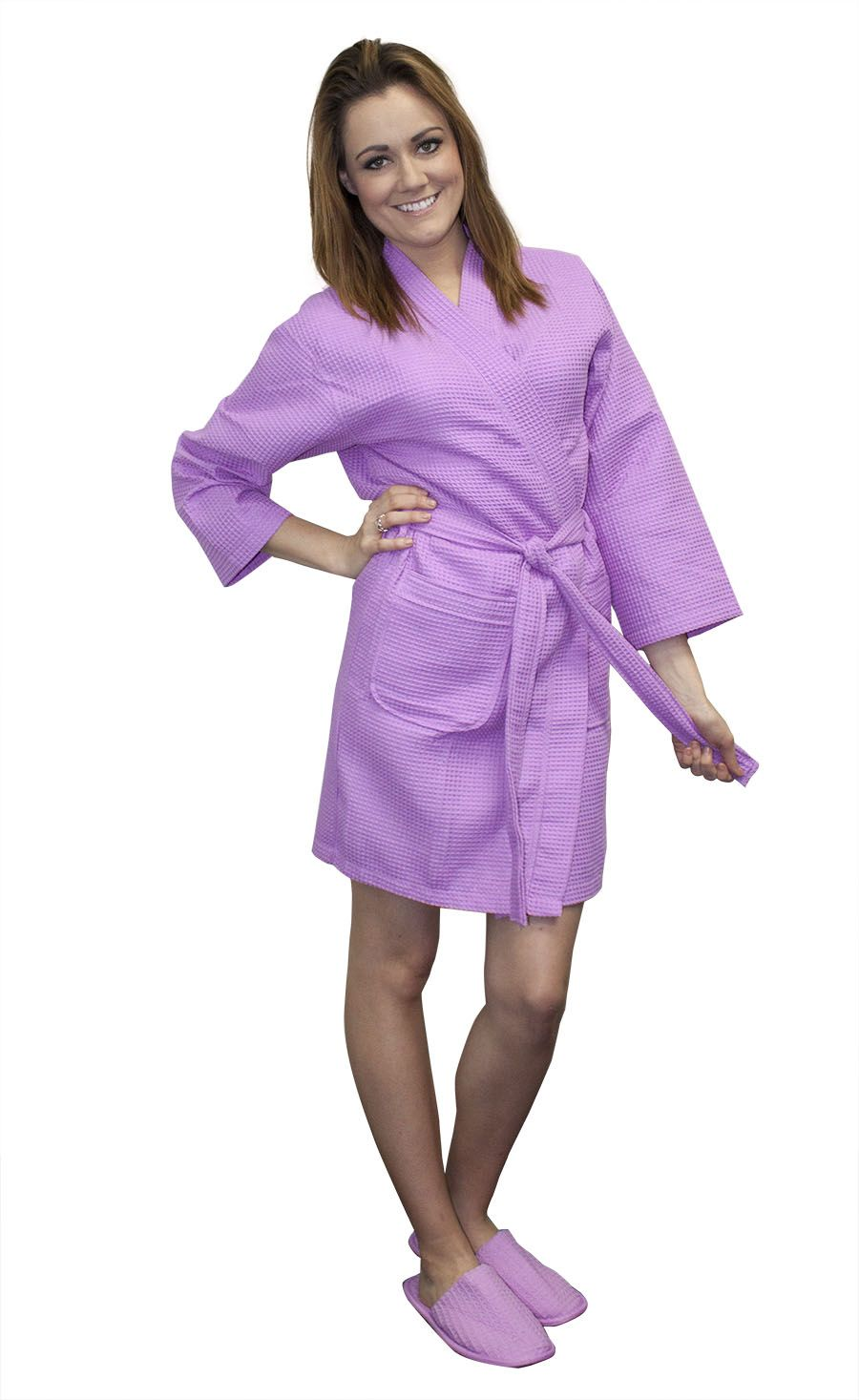 d3530f2571 Cottonage s Purple Kimono Robes made of 60% cotton and 40% polyester waffle  weave fabric