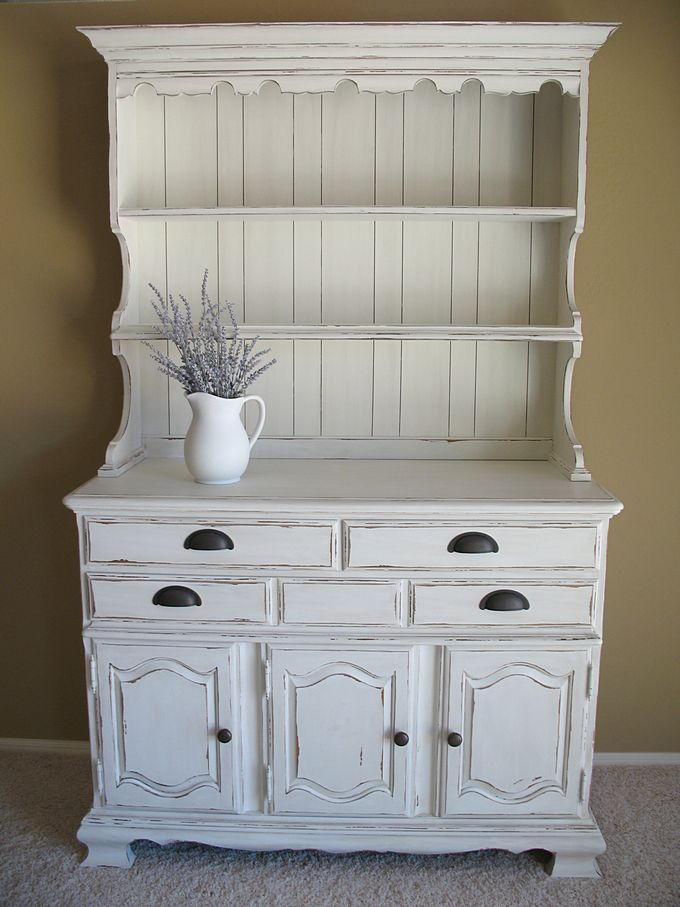 Marvelous Detailed Photos Of White Distressed Hutch.