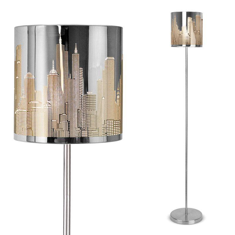 Modern New York Skyline Silver Chrome Floor Standing Light Standard Lamp New Ebay Metal Floor Lamps Floor Standing Light Lamp