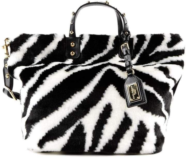 d8a6aba4bdd4 Dolce   Gabbana Eco Fur Zebra Shopping Bag