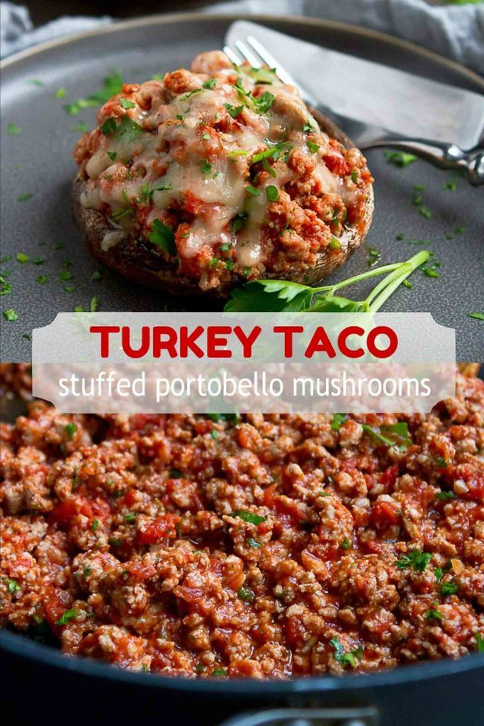 This Turkey Taco Stuffed Portobello Mushroom recipe comes together in about 30 minutes, and is both healthy and delicious! 206 calories and 2 Weight Watchers Freestyle SP #weightwatchers #glutenfree #lowcarb #recipe #groundturkeytacos