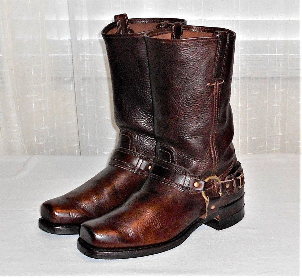 Frye 87250 Brown Leather Belted Harness Square Toe