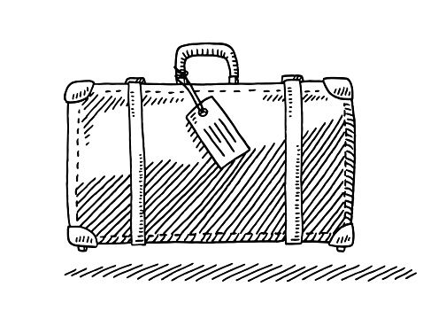 Hand,drawn vector drawing of a Zip Bag with Fluids for the