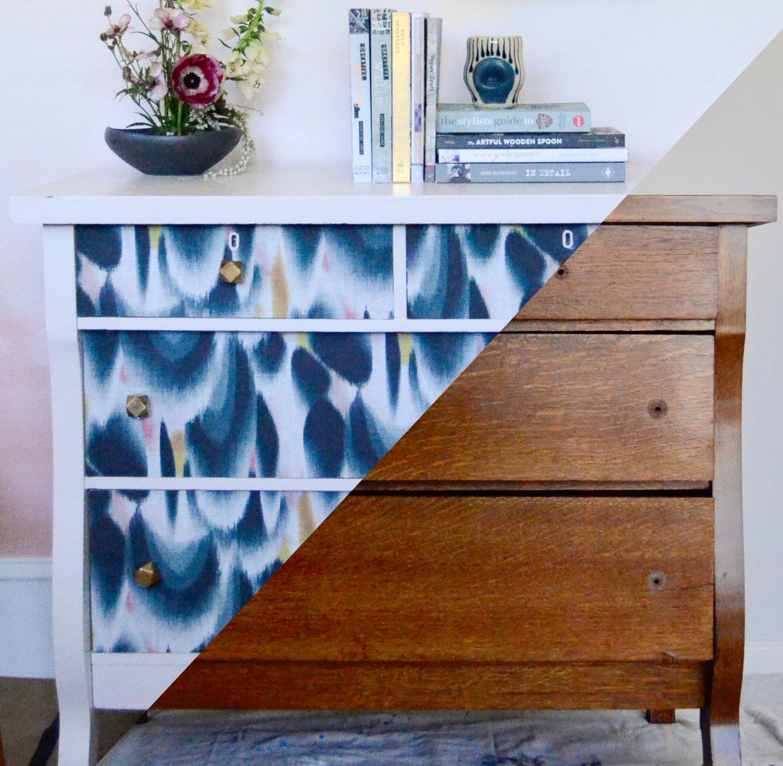 How To Refresh A Dresser With Wallpaper Wallpaper Dresser Wallpaper Drawers Wallpaper Furniture