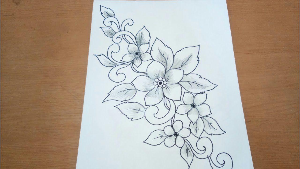 Sketsa Bunga Untuk Batik Sangat Mudah Di Ikuti Youtube Flower Drawing Design Flower Drawing Batik Pattern