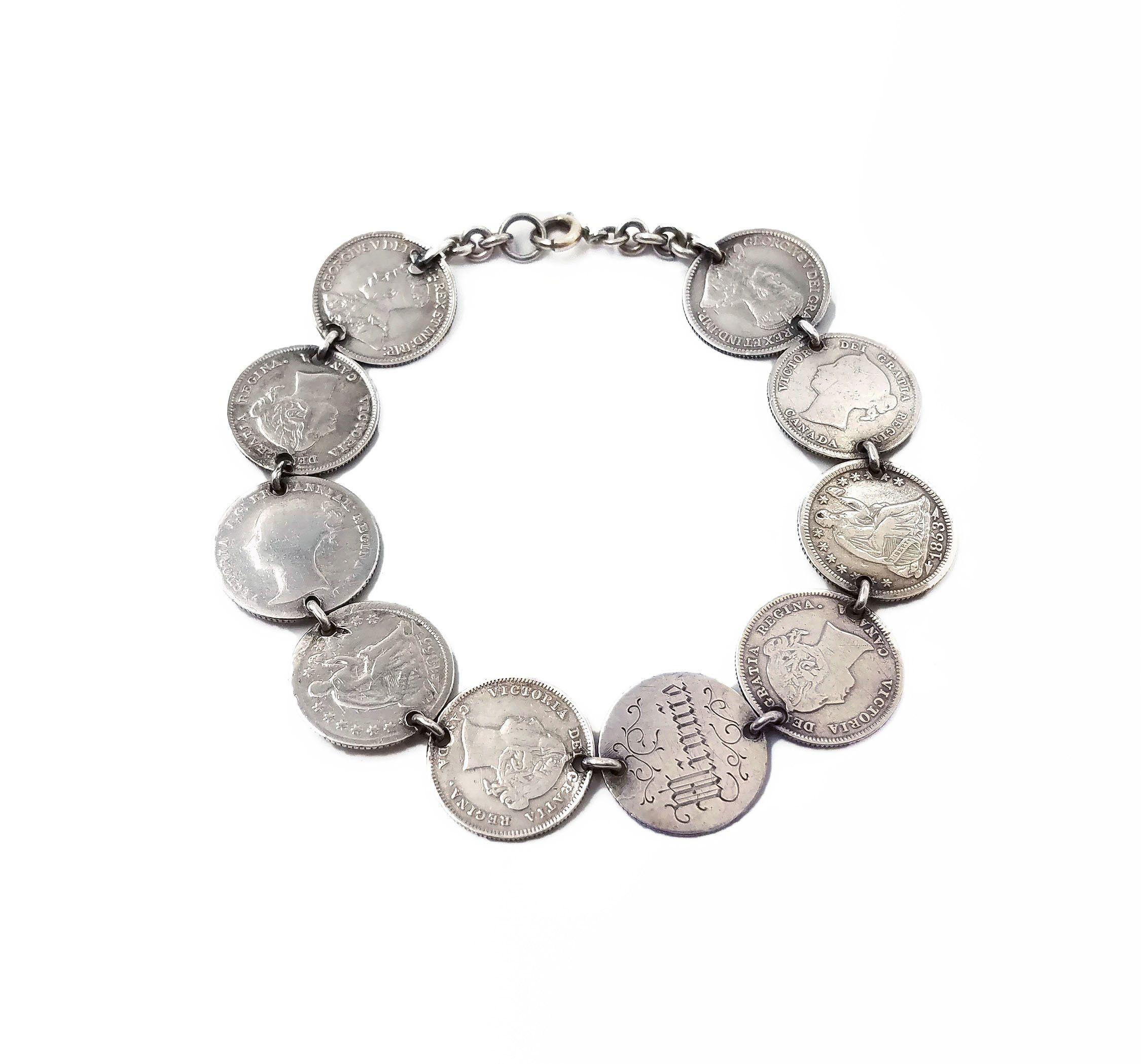 Silver Tone Simple Clear Rhinestone Anchor Fashion Brooch Bangle Wrist Band