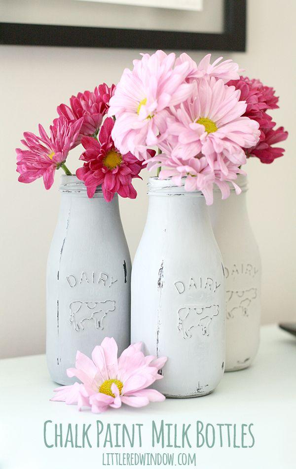 How To Chalk Paint Glass Milk Bottles Milk Bottle Centerpiece