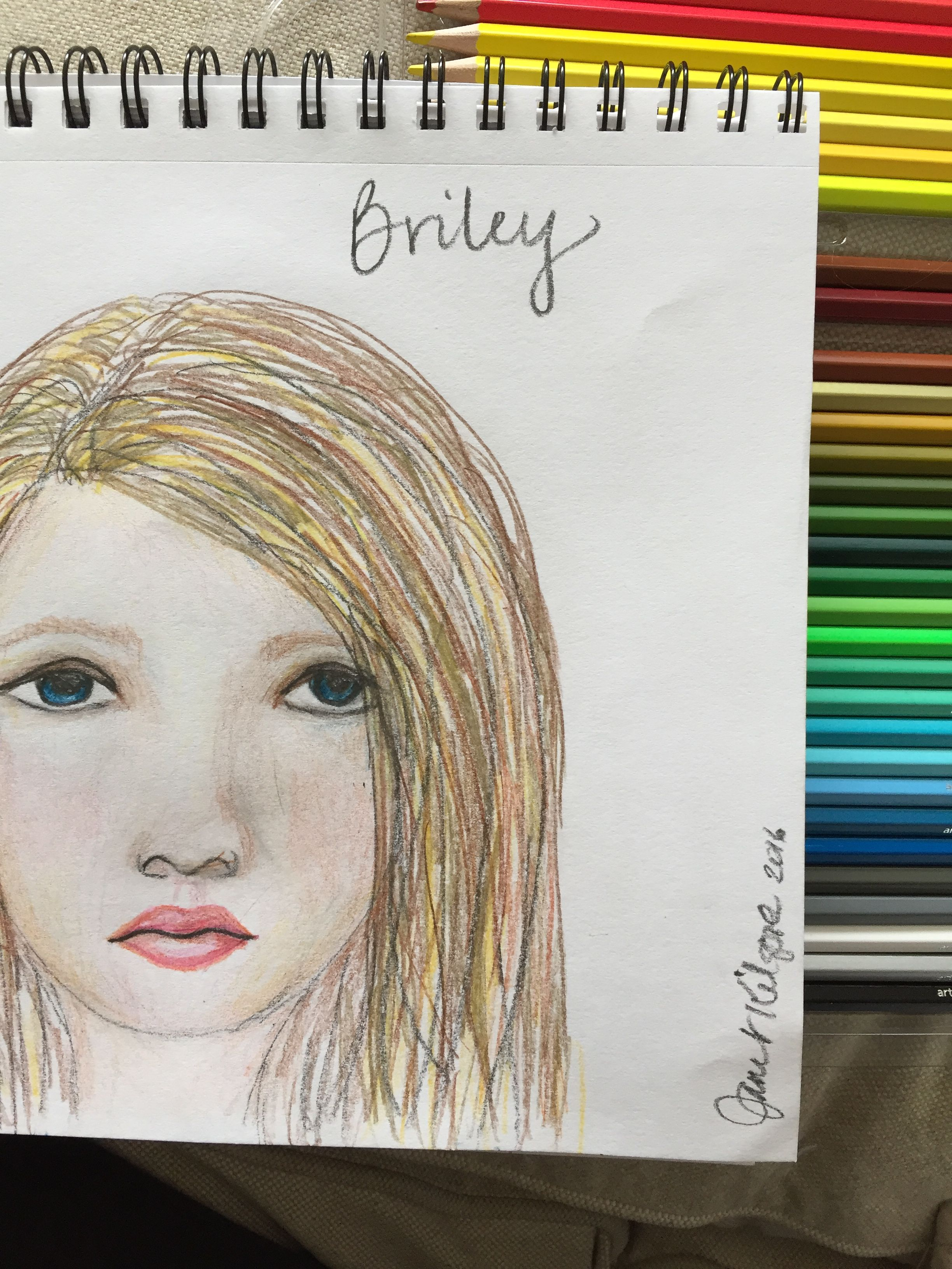Briley sketch on paper w/colored pencils