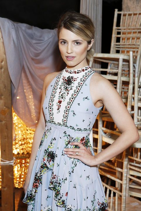Dianna Agron has been shy with her left hand: The former Glee star, who got engaged to Mumford & Sons' Winston Marshall over the holidays last year, hadn't let us peek at her engagement ring—until now.