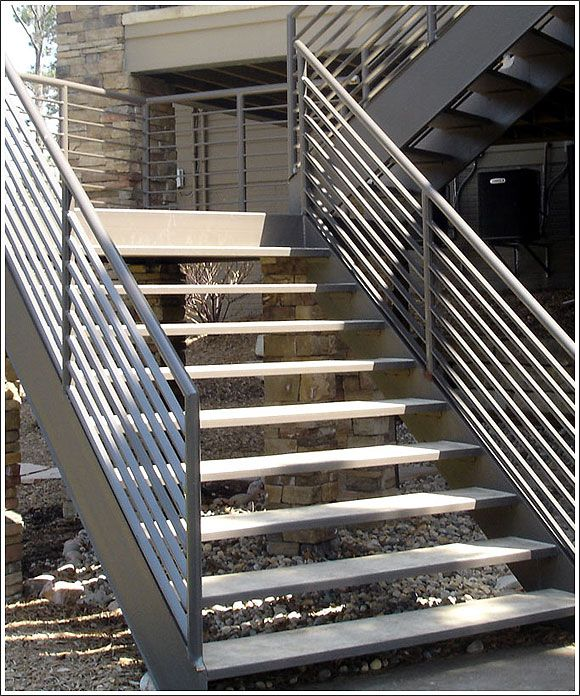 Steel Staircase Outdoor For Basement Staircase Outdoor Patio | Outdoor Steel Staircase Design | Steel Framed Exterior | Indoor | Vertical Wire Balustrade | Prefabricated Steel | Stair Handrail