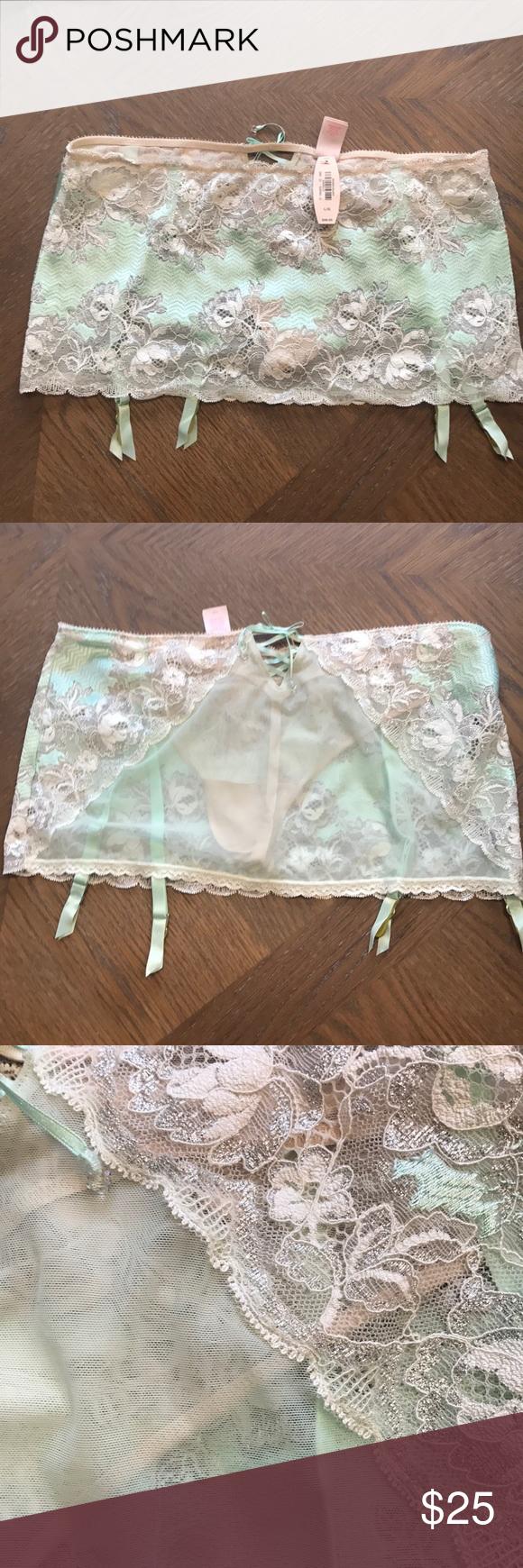 4af4d714f Victoria s Secret garter belt g string mini Romantic Mint green and beige