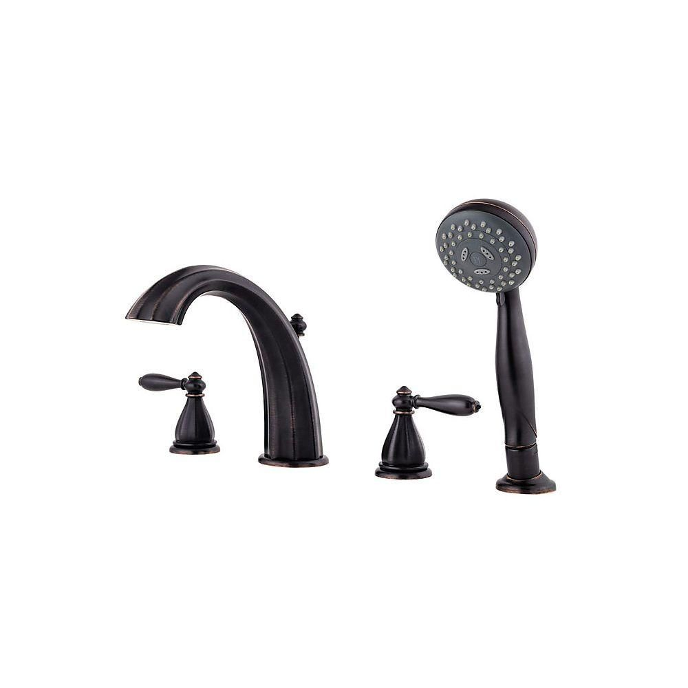 Delta Lahara 2 Handle Deck Mount Roman Tub Faucet With Hand Shower