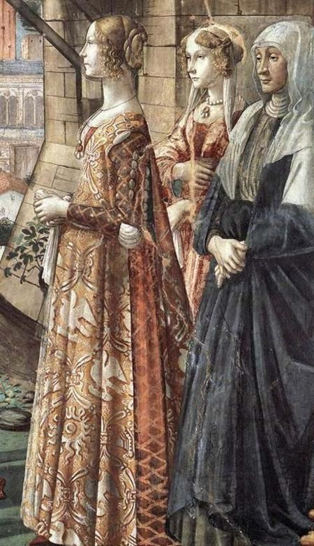 The Tornabuoni sisters & their escort, c. 1480, fresco in the Capella Magiorre of the Santa Maria Novella in Florence, by Domenico Ghirlandaio (with help from workshop assistants, incl. 14-year-old Michelangelo).