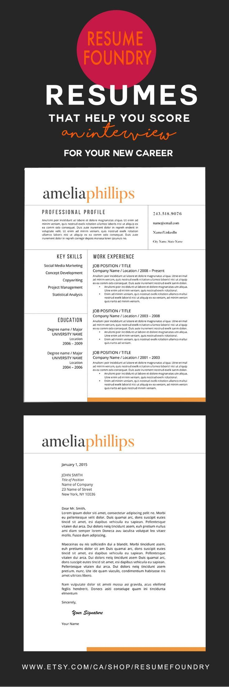 Elegant Resume Template For Use With Microsoft Word  Remember