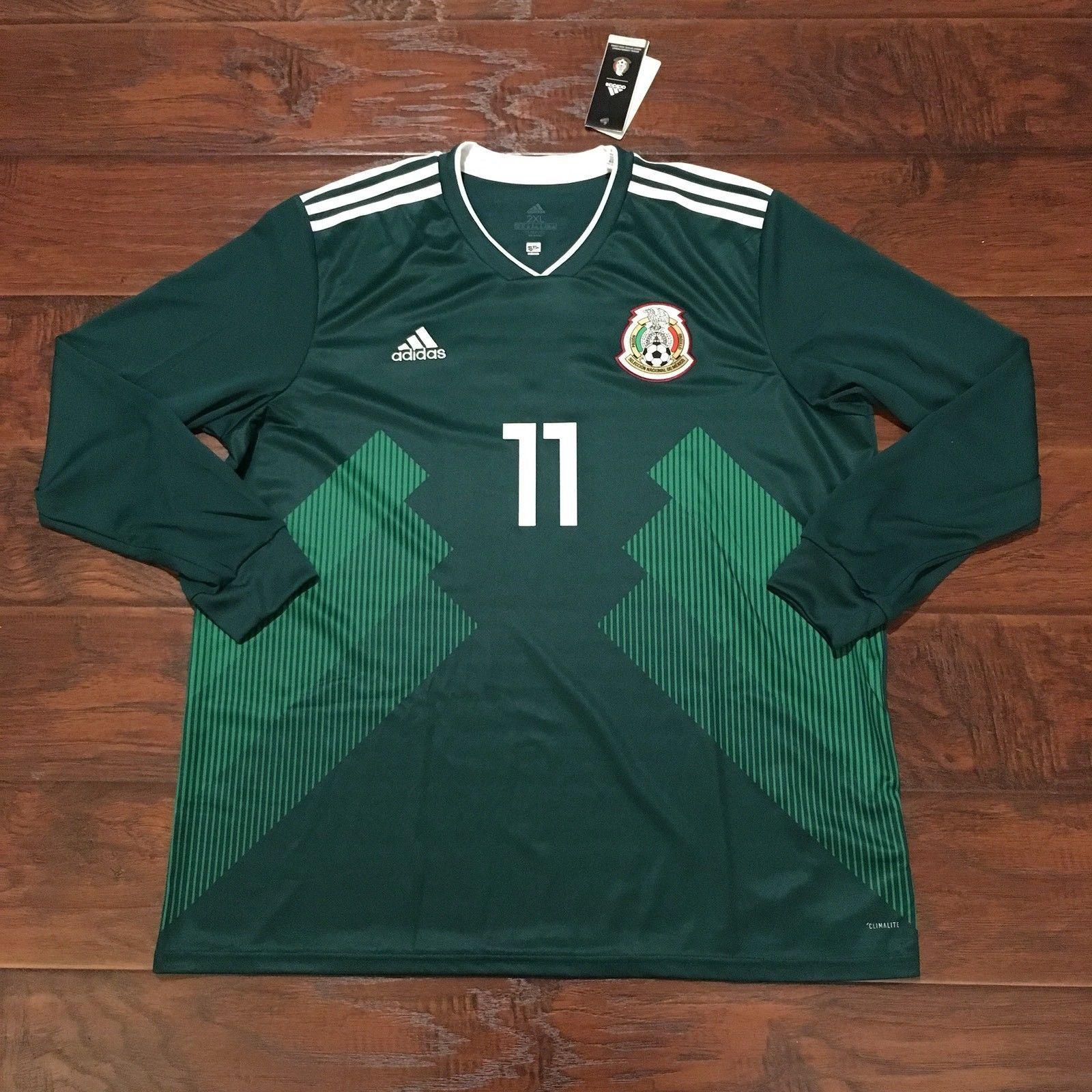 2018 Mexico Home Jersey 11 Carlos Vela 2xl L S Adidas World Cup Fashion Big Size T Shirt Argentina Soccer