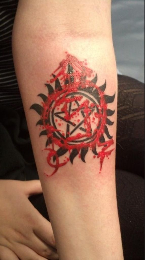 Angel banishing sigil layered over an anti possession for Badass angel tattoos