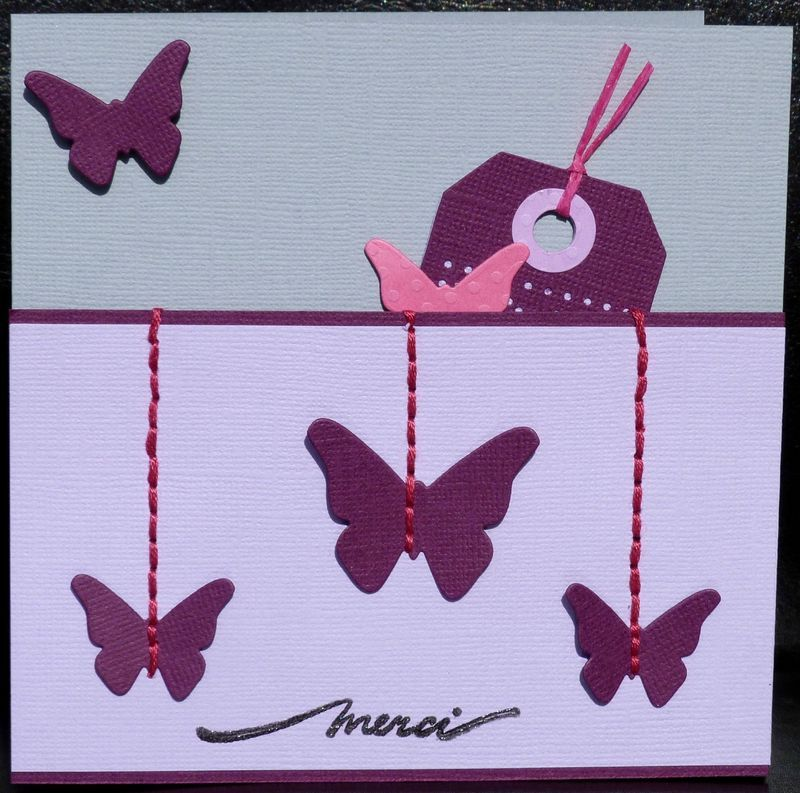 Des papillons suspendus ... un tag cach� ... une commande ... une carte de remerciement